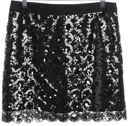 MILLY Black Sequin Straight Mini Skirt Size 10