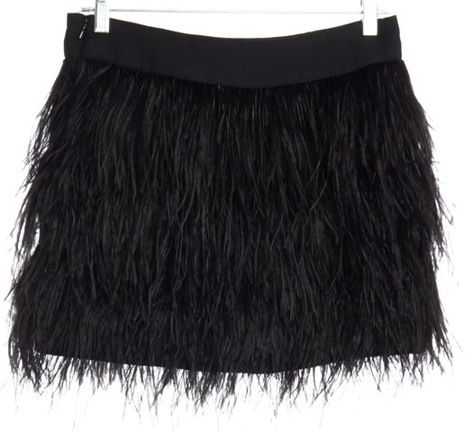 MILLY Black Silk Ostrich Feather A-Line Skirt Size 2