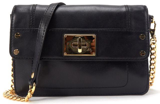 MILLY Black Leather Turn Lock Crossbody Bag