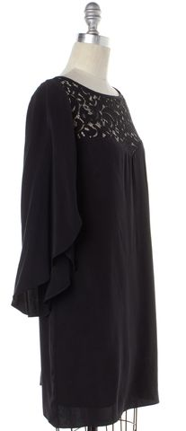 MILLY Black Silk Shift Dress