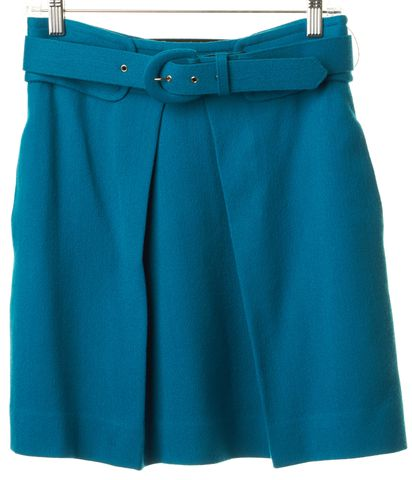 MILLY Teal Blue Wool A-Line Skirt