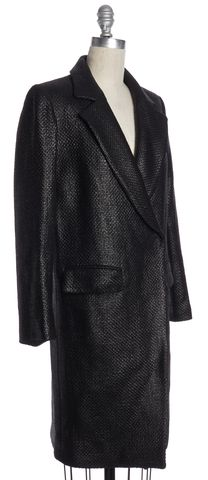 MILLY Black Coated Tweed Blazer Style Coat Size P