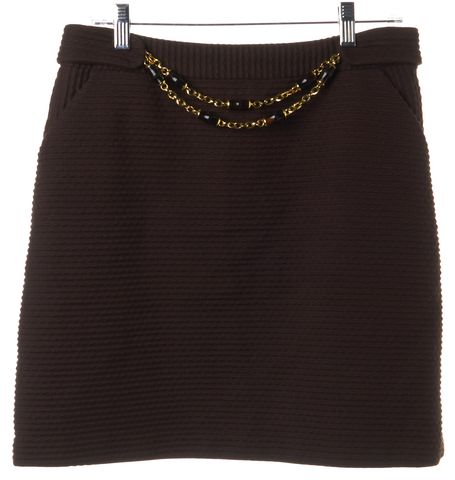 MILLY Brown Ribbed Mini Skirt