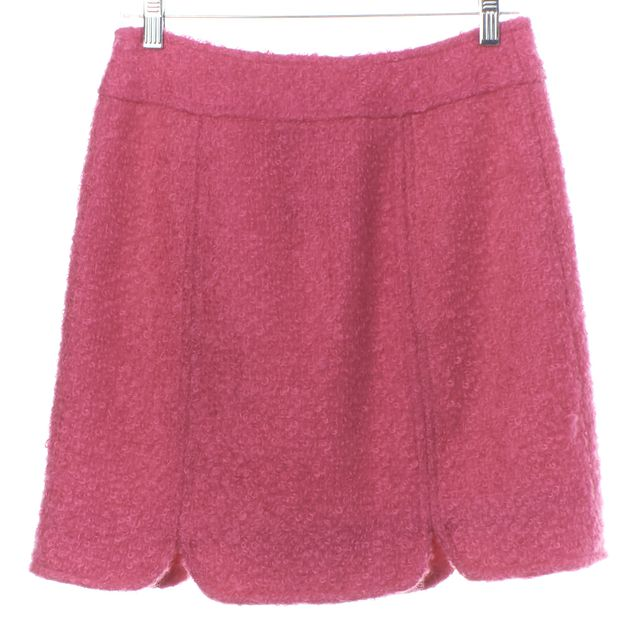 MILLY Pink Mohair A-Line Skirt