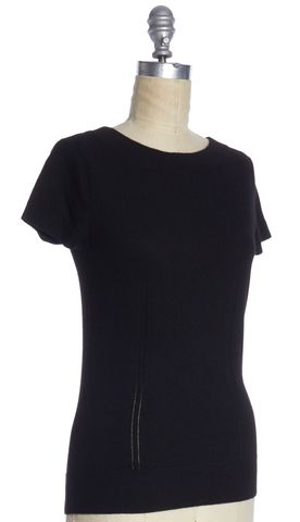 MILLY Black Button Back Detail Knit Top