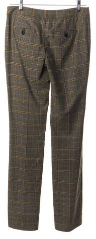 MILLY Brown Beige MultiPlaid Wool Wide Leg Trousers