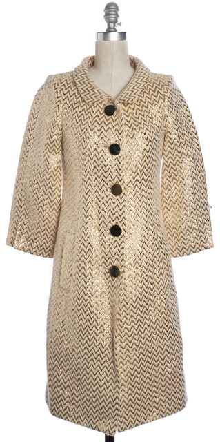 MILLY Ivory Gold Zig Zag Long Sleeve Knit Coat