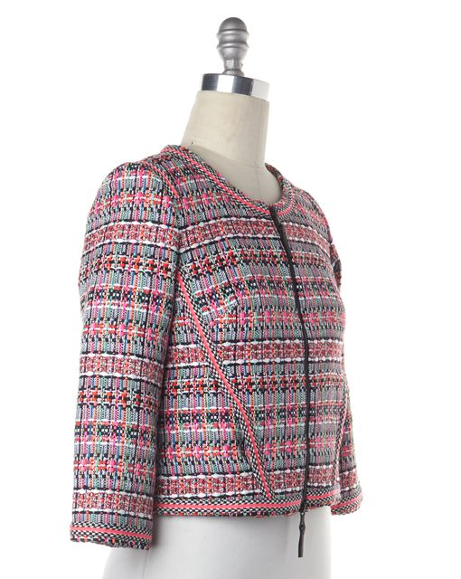 MILLY Pink Multi-color Couture Tweed Slim Zip Up Jacket