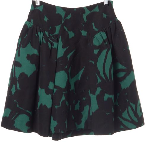 MILLY Black Green Printed A-Line Knee Length Skirt