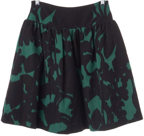 MILLY Black Green Printed A-Line Knee Length Skirt Size 0