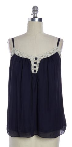MILLY Navy Blue Ivory Lace Trim Cami Top