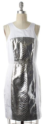 MILLY White Silver Snake Embossed Leather Combo Sheath Dress