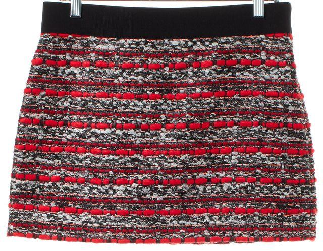 MILLY Red Tweed Mini Skirt