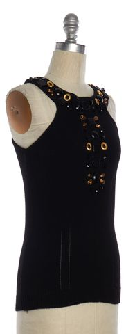 MILLY Black Embellished Cashmere Knit Top