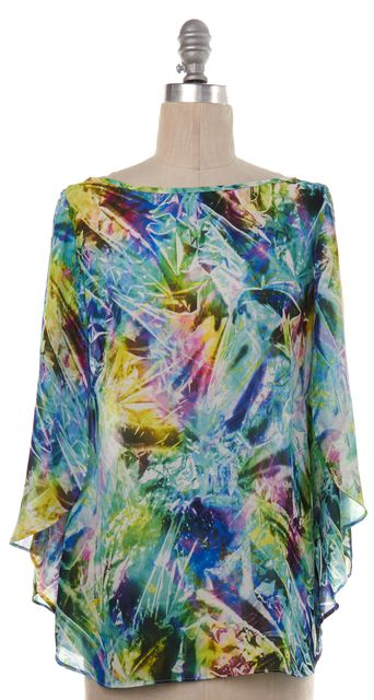MILLY Green Blue Abstract Blouse
