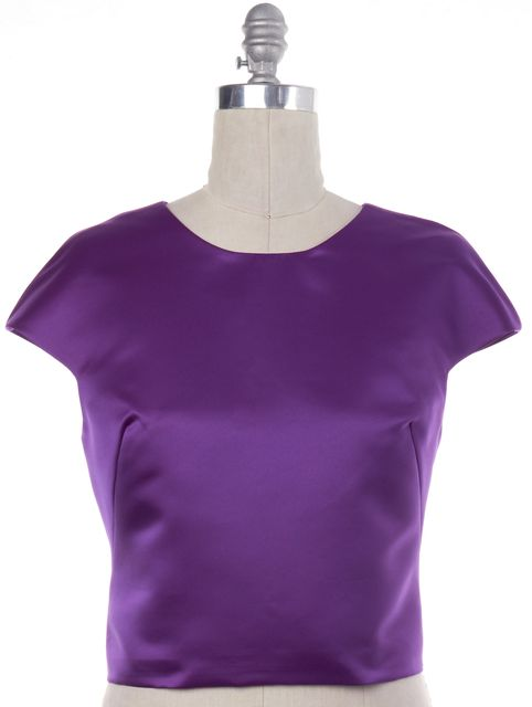 MILLY Purple Duchess Satin Cap Sleeve Top