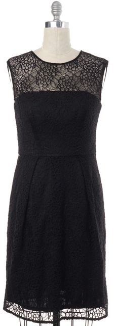 MILLY Black Lace Sheath Dress