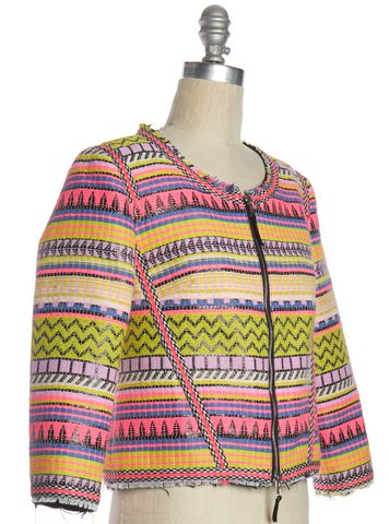 MILLY Multi-color Geometric Pattern Embroidered Jacket