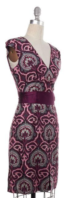 MILLY Purple Paisley Silk Sheath Dress