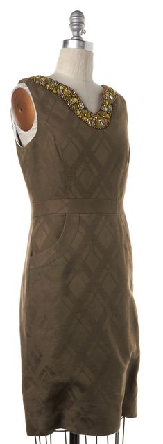 MILLY Olive Green Plaid Embellished Sheath Dress