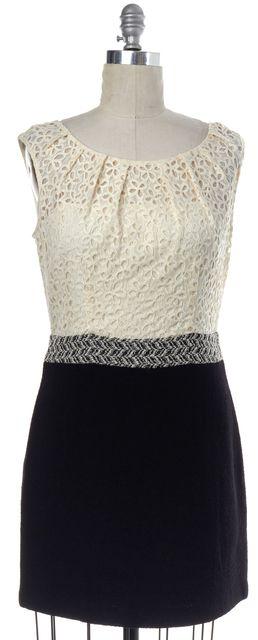 MILLY Black White Lace Wool Cotton Combo Sleeveless Sheath Dress
