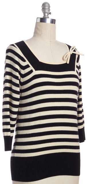MILLY Black Ivory Striped Square Neck LongSleeve Knit Sweater