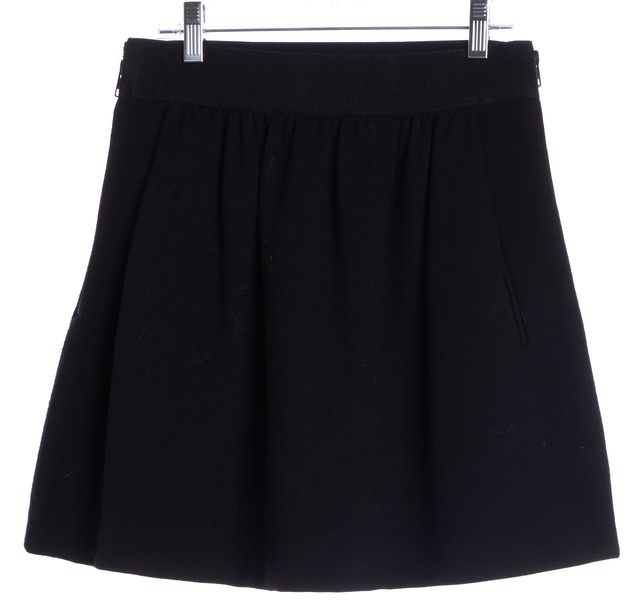MILLY Black Wool Mini Skirt