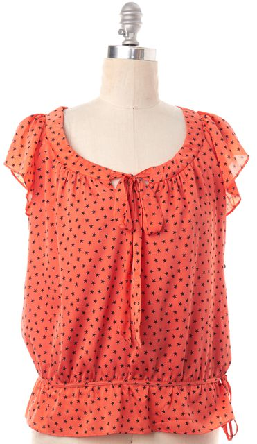 MILLY Coral Pink Star Print Silk Blouse Top