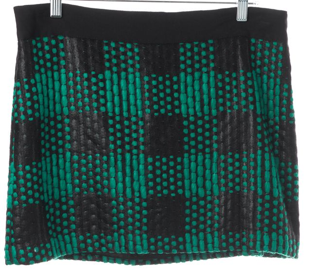 MILLY Green Black Plaid Textured Mini Skirt