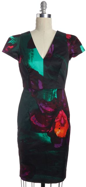 MILLY Green Purple Red Abstract Print V-Neck Knee Length Pencil Dress