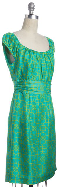 MILLY Green Yellow Geometric Silk Short Sleeve Empire Waist Dress