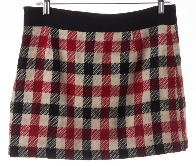 MILLY Red Ivory Black Plaid Wool Straight Mini Skirt