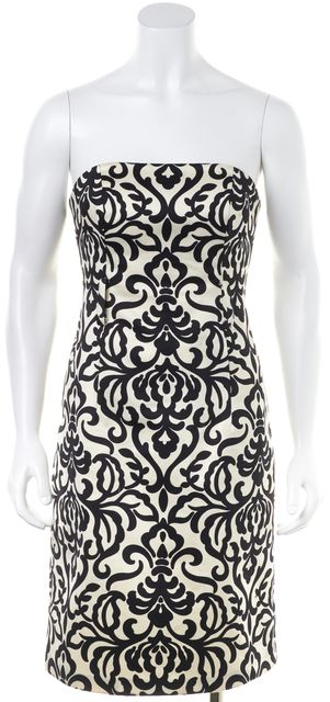 MILLY White Black Abstract Strapless Knee-Length Sheath Dress