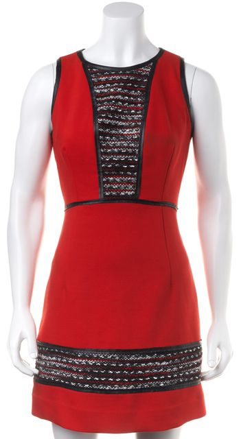 MILLY Red Tweed Leather Trim Knee-Length Sheath Dress