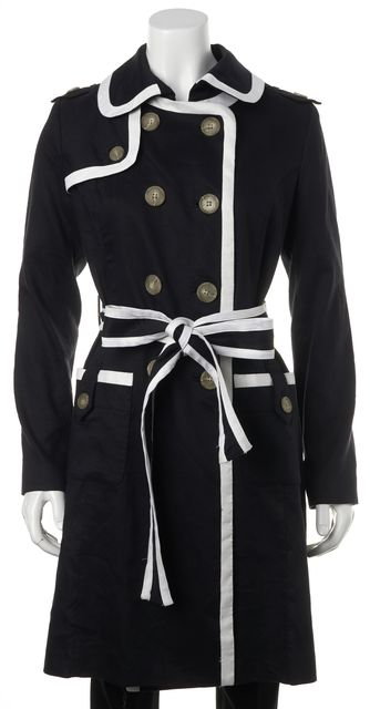 MILLY Navy Blue White Linen Belted Double Breasted Basic Coat