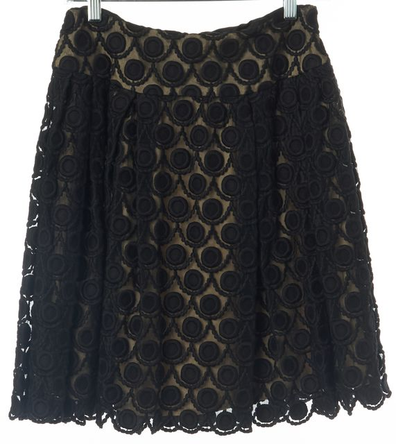 MILLY Black Ivory Geometric Embroidered Lace Casual A-Line Pleat Skirt