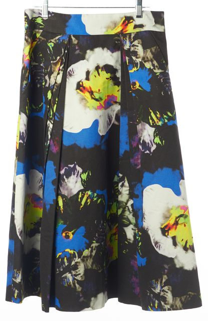 MILLY Black Midnight Floral Print A-Line 3/4 Skirt