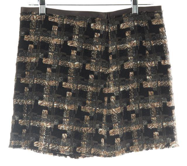 MILLY Brown Beige Plaids & Checks Tweed Wool Casual Straight Mini Skirt