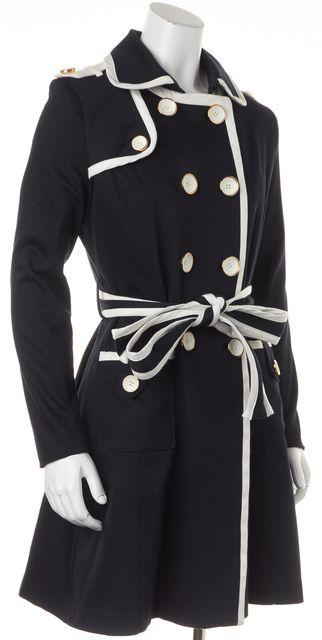 MILLY Navy Blue Basic Button Up Wrap Around Belt Coat