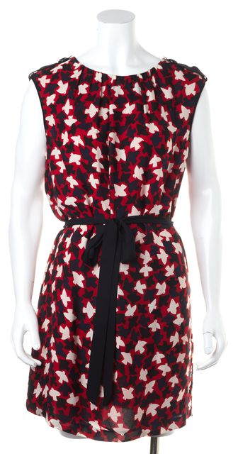 MILLY Silk Red Blue Print Sleeveless Sheath Dress