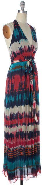 MILLY Red Blue Multi Tie Dye Printed Cotton Silk Halter Wrap Maxi Dress