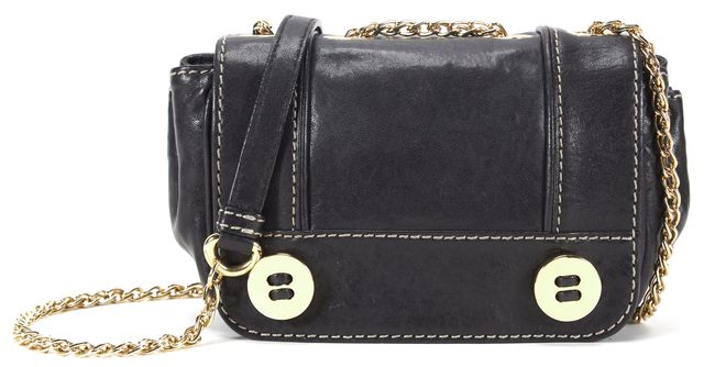 MILLY Black Leather Gold Button Hardware Chain Link Flap Cross-body Shoulder Bag