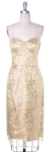 MILLY Gold Metallic Lace Back Slit Strapless Corset Sheath Formal Dress
