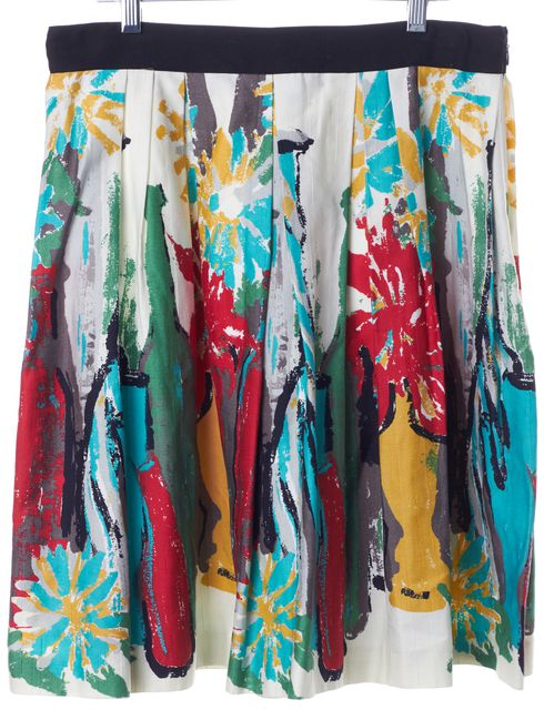 MILLY White Multi Color Abstract Floral Printed Pleated A-Line Skirt