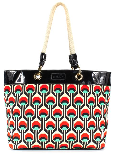 MILLY Multi-Color Abstract Print Canvas Tote Bag