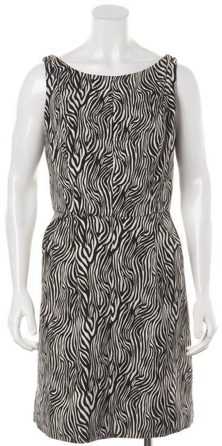 MILLY Black White Zebra Sleeveless Pocket Front Sheath Dress