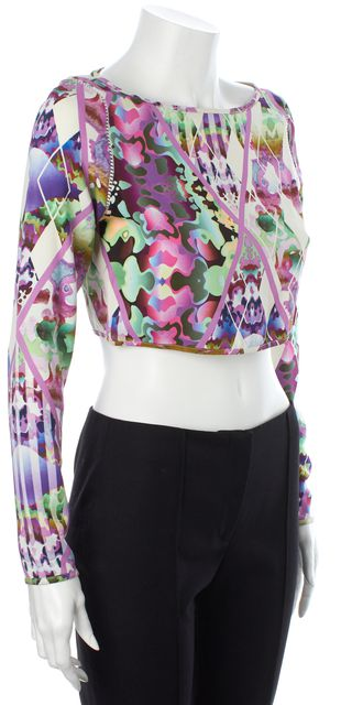 MILLY Purple Ivory Green Abstract Net Trim Long Sleeve Cropped Blouse