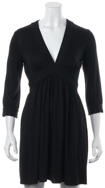 MILLY Black Jersey Empire V-Neck Waist Mini Dress