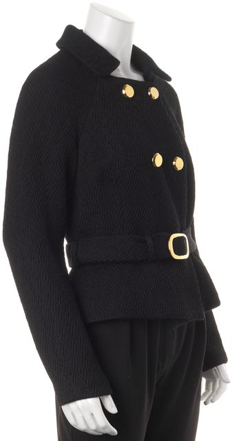 MILLY Black Textured Wool Double Breasted Belted Basic Jacket