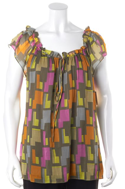 MILLY Multi-Color Geometric Printed Cotton Silk Peasant Blouse